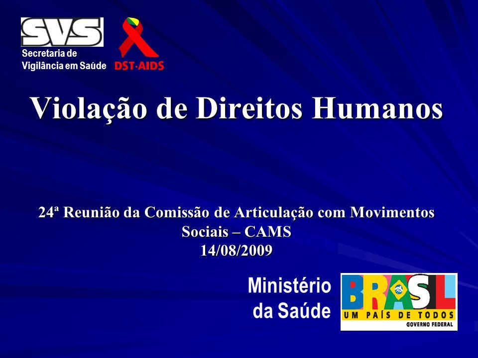 Violação de Direitos Humanos 24ª Reunião da Comissão de Articulação com Movimentos Sociais – CAMS 14/08/2009 Secretaria de Vigilância em Saúde Ministé