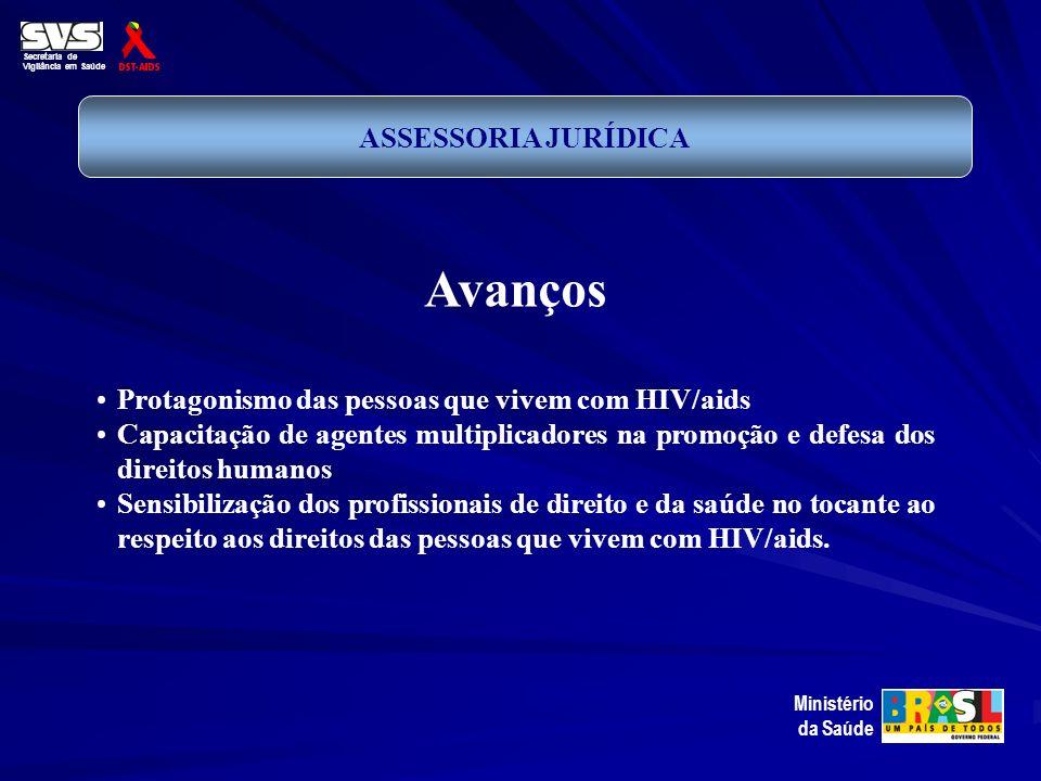 Secretaria de Vigilância em Saúde Ministério da Saúde ASSESSORIA JURÍDICA Avanços Protagonismo das pessoas que vivem com HIV/aids Capacitação de agent