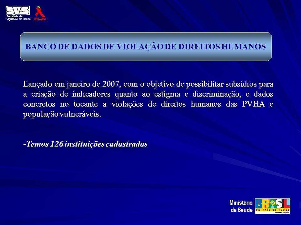 Secretaria de Vigilância em Saúde Ministério da Saúde BANCO DE DADOS DE VIOLAÇÃO DE DIREITOS HUMANOS Lançado em janeiro de 2007, com o objetivo de pos