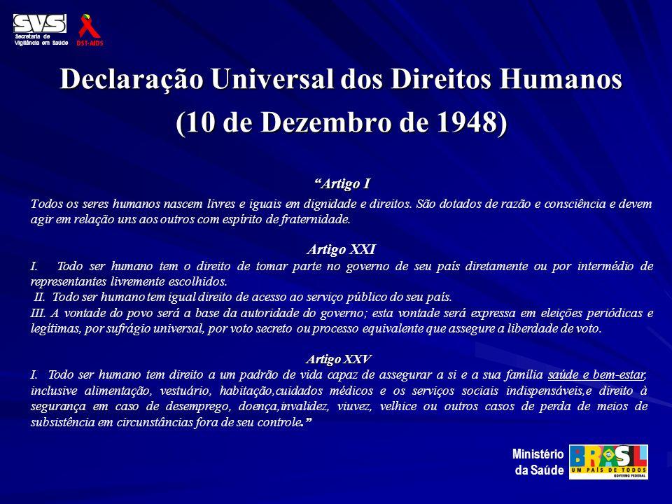 Declaração Universal dos Direitos Humanos (10 de Dezembro de 1948) Artigo I Todos os seres humanos nascem livres e iguais em dignidade e direitos. São