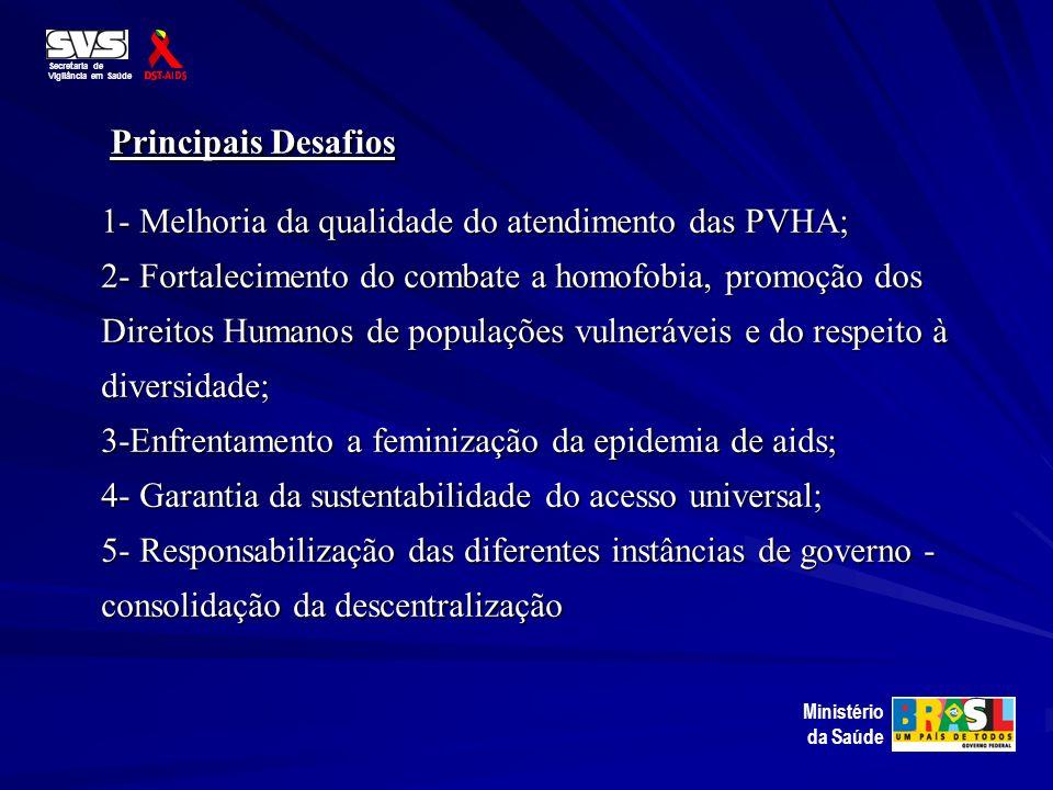 Principais Desafios Principais Desafios 1- Melhoria da qualidade do atendimento das PVHA; 2- Fortalecimento do combate a homofobia, promoção dos Direi