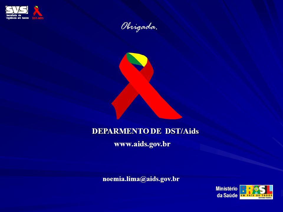 Secretaria de Vigilância em Saúde Ministério da Saúde Obrigada. DEPARMENTO DE DST/Aids www.aids.gov.br noemia.lima@aids.gov.br