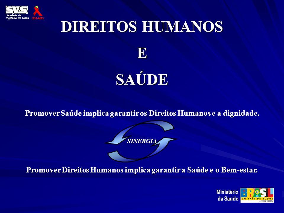 DIREITOS HUMANOS ESAÚDE Secretaria de Vigilância em Saúde Ministério da Saúde Promover Saúde implica garantir os Direitos Humanos e a dignidade. Promo