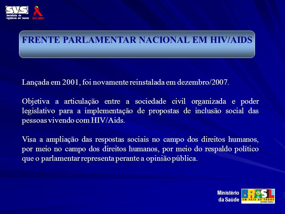 Secretaria de Vigilância em Saúde Ministério da Saúde FRENTE PARLAMENTAR NACIONAL EM HIV/AIDS Lançada em 2001, foi novamente reinstalada em dezembro/2