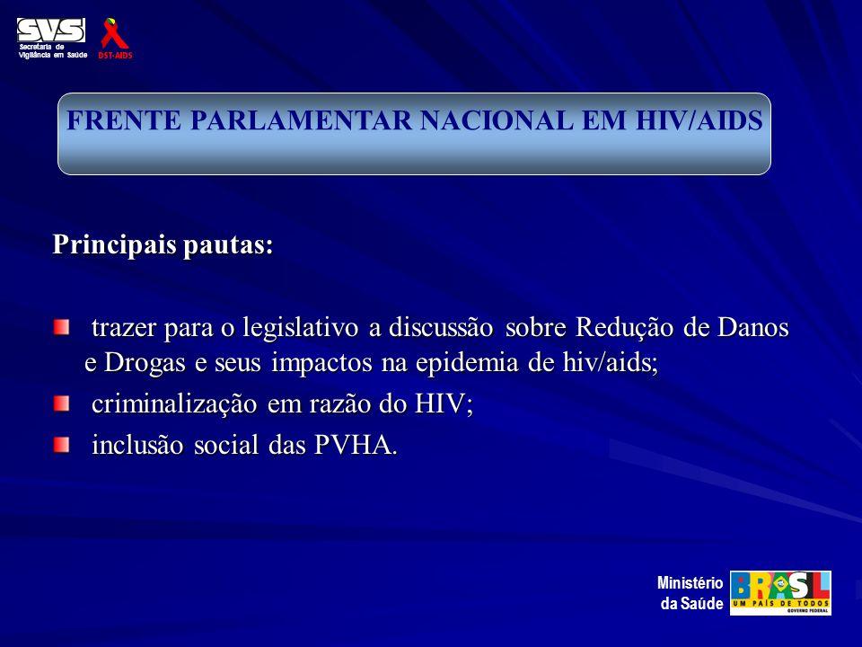 Principais pautas: trazer para o legislativo a discussão sobre Redução de Danos e Drogas e seus impactos na epidemia de hiv/aids; trazer para o legisl