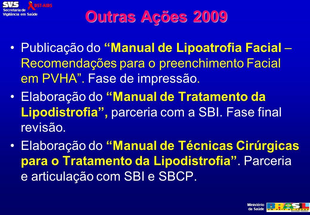 Ministério da Saúde Secretaria de Vigilância em Saúde Outras Ações 2009 Publicação do Manual de Lipoatrofia Facial – Recomendações para o preenchiment
