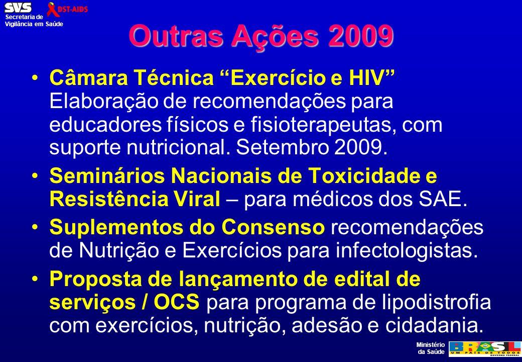 Ministério da Saúde Secretaria de Vigilância em Saúde Outras Ações 2009 Câmara Técnica Exercício e HIV Elaboração de recomendações para educadores fís