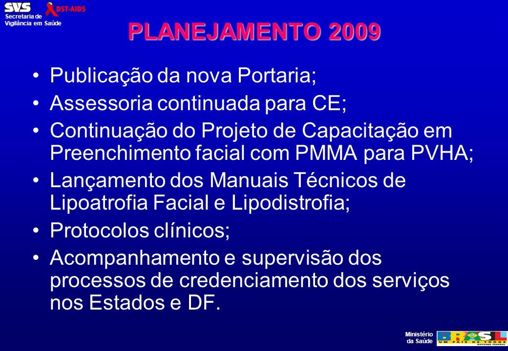 Ministério da Saúde Secretaria de Vigilância em Saúde PLANEJAMENTO 2009 Publicação da nova Portaria; Assessoria continuada para CE; Continuação do Pro