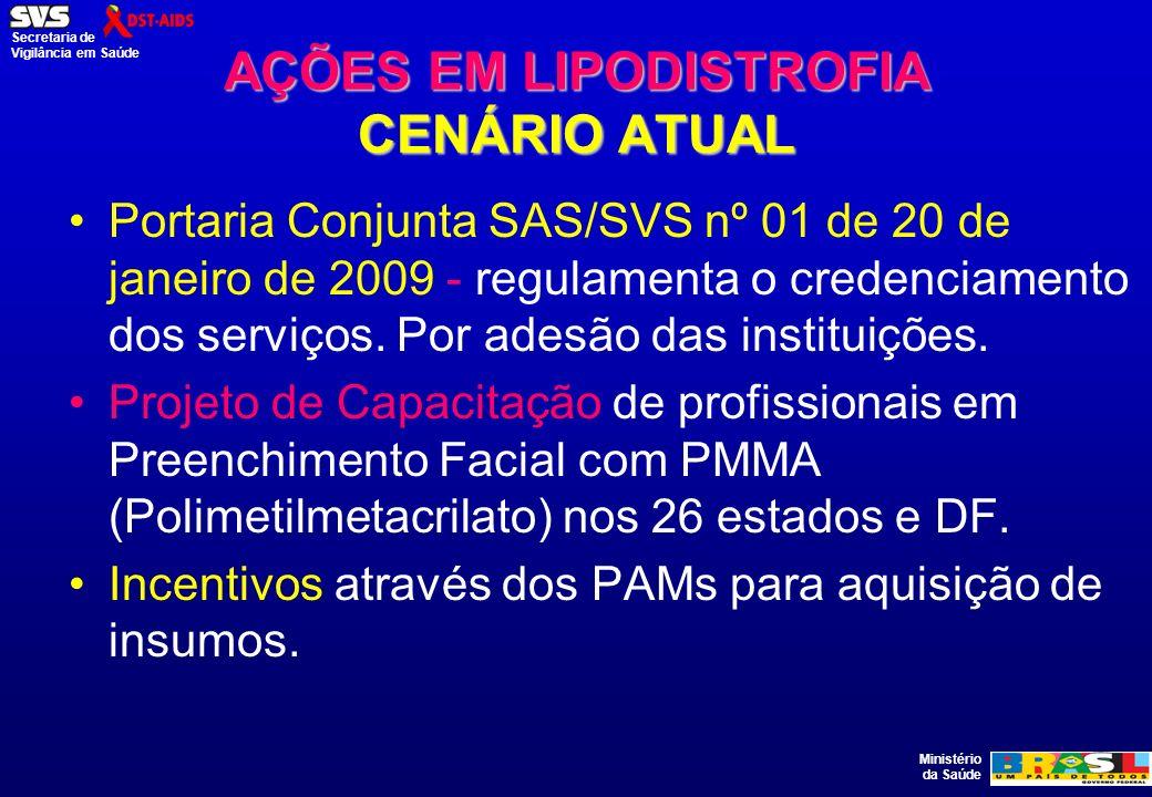 Ministério da Saúde Secretaria de Vigilância em Saúde AÇÕES EM LIPODISTROFIA CENÁRIO ATUAL Portaria Conjunta SAS/SVS nº 01 de 20 de janeiro de 2009 -