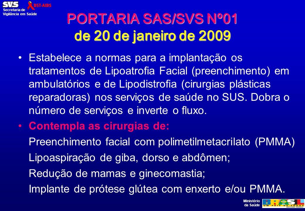 Ministério da Saúde Secretaria de Vigilância em Saúde PORTARIA SAS/SVS Nº01 de 20 de janeiro de 2009 Estabelece a normas para a implantação os tratame
