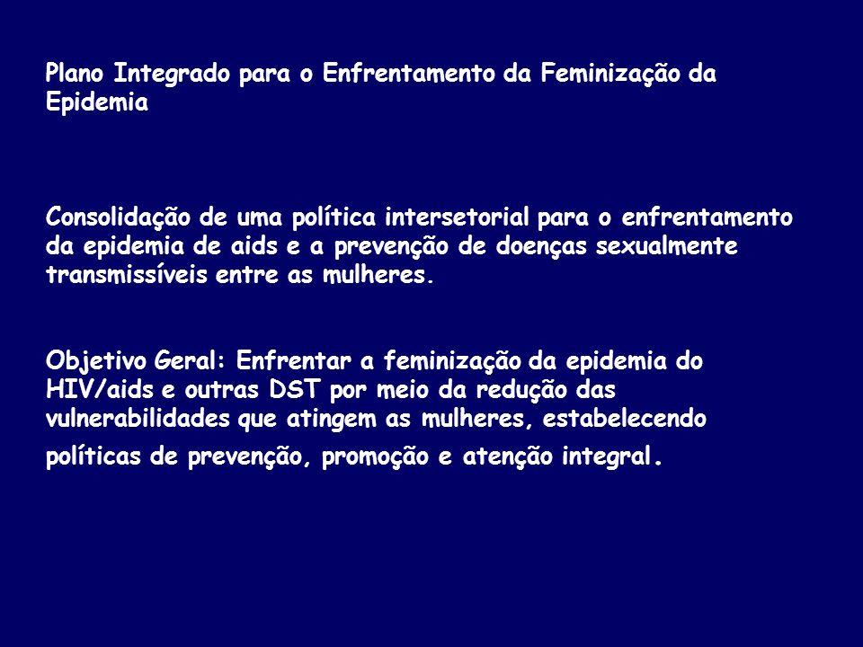 Plano Integrado para o Enfrentamento da Feminização da Epidemia Consolidação de uma política intersetorial para o enfrentamento da epidemia de aids e a prevenção de doenças sexualmente transmissíveis entre as mulheres.