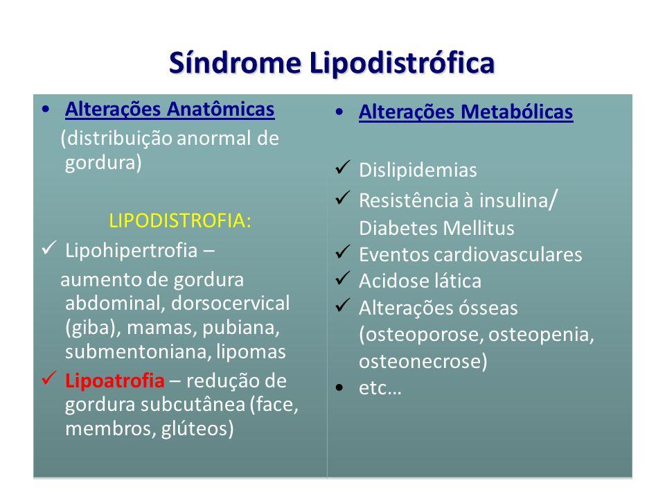 Síndrome Lipodistrófica Alterações Anatômicas (distribuição anormal de gordura) LIPODISTROFIA: Lipohipertrofia – aumento de gordura abdominal, dorsoce