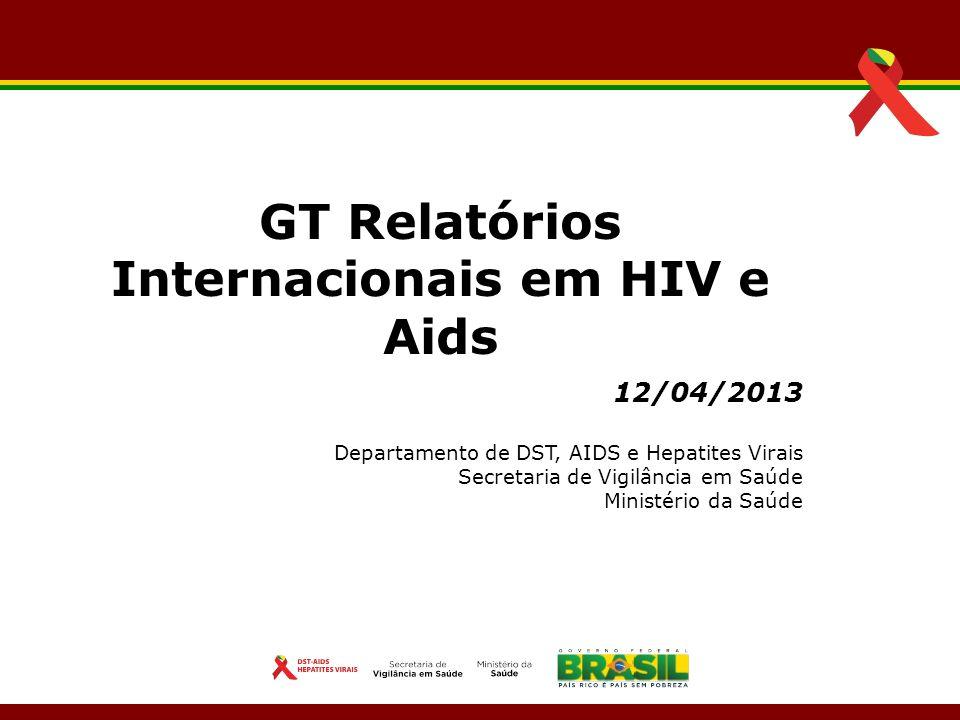 12/04/2013 Departamento de DST, AIDS e Hepatites Virais Secretaria de Vigilância em Saúde Ministério da Saúde GT Relatórios Internacionais em HIV e Ai