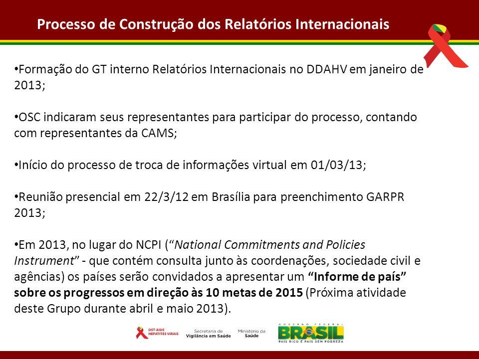 Processo de Construção dos Relatórios Internacionais Formação do GT interno Relatórios Internacionais no DDAHV em janeiro de 2013; OSC indicaram seus