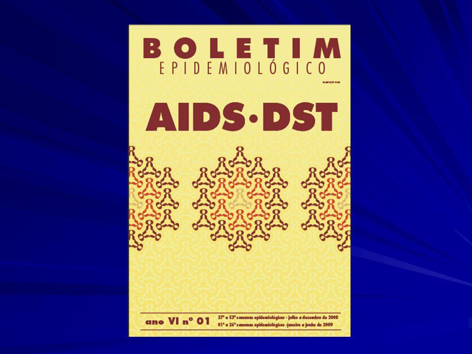 Situação da AIDS no País Estimativa de infectados pelo HIV (2006): 630.000 Prevalência da infecção pelo HIV entre 15 e 49 anos: 0,61% (sexo feminino 0,41% e sexo masculino 0,82%) Casos acumulados de aids (1980 a junho de 2009): 544.846 Casos novos de aids em 2008: 34.480 Taxa de incidência de aids (por 100.000 habitantes) em 2008: 18,2 Número de óbitos por aids (1980 a 2008): 217.091 Número de óbitos por aids em 2008: 11.523 Coeficiente de mortalidade por aids (por 100.000 habitantes) em 2008: 6,1