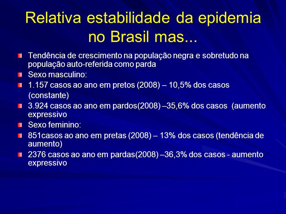 Evolução da razão brancos/negros nos casos de AIDS Queda na razão branco/negros Entre homens, caiu de 1,7:1 em 2001 para 1,1:1 em 2008 Entre mulheres, caiu de 1,6:1 em 2001 para 1,0:1 em 2008