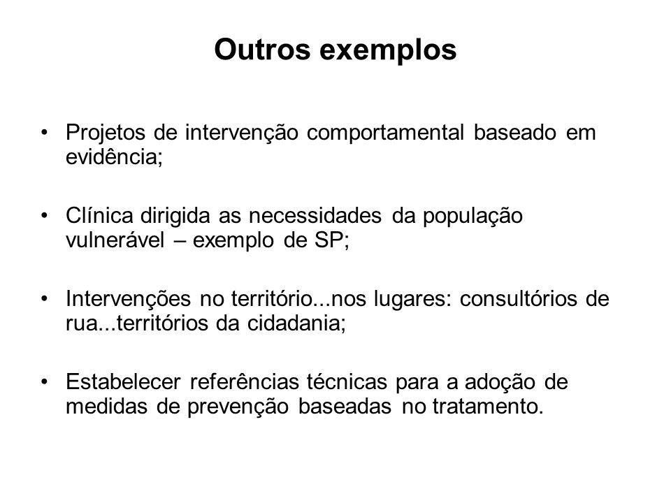 Outros exemplos Projetos de intervenção comportamental baseado em evidência; Clínica dirigida as necessidades da população vulnerável – exemplo de SP;