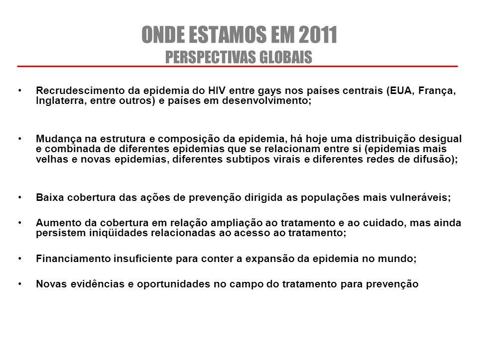 ONDE ESTAMOS EM 2011 PERSPECTIVAS GLOBAIS Recrudescimento da epidemia do HIV entre gays nos países centrais (EUA, França, Inglaterra, entre outros) e