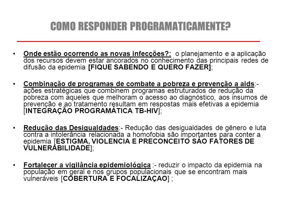 As principais características da epidemia no Brasil Epidemia concentrada: atinge principalmente grupos específicos da população com taxas de prevalência superiores as observadas na população em geral ; Prevalência da infecção na população 15 a 49 anos: 0,61% Homens que fazem sexo homens: 10,5% Mulheres trabalhadoras sexuais: 5,0% Usuários de drogas: 5,9% Distribuição desigual e combinada de epidemias com marcadas diferenças regionais; A via de transmissão sexual é a mais frequente, mas em algumas regiões persiste a transmissão por uso de drogas injetáveis ; A classe de exposição homo-bissexuais se apresenta em crescimento na população de jovens com idade entre 17 e 29 anos;
