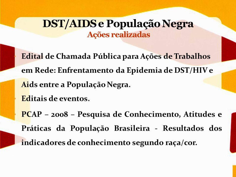 Edital de Chamada Pública para Ações de Trabalhos em Rede: Enfrentamento da Epidemia de DST/HIV e Aids entre a População Negra. Editais de eventos. PC