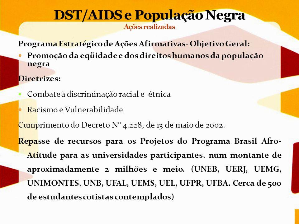Programa Estratégico de Ações Afirmativas- Objetivo Geral: Promoção da eqüidade e dos direitos humanos da população negra Diretrizes: Combate à discri
