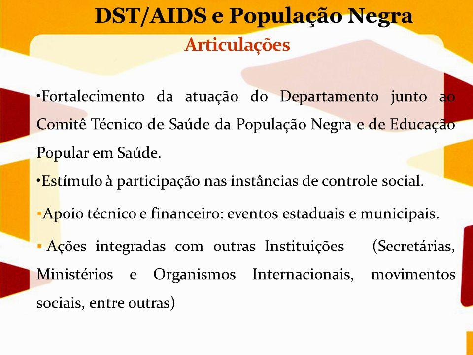 DST/AIDS e População Negra Fortalecimento da atuação do Departamento junto ao Comitê Técnico de Saúde da População Negra e de Educação Popular em Saúd