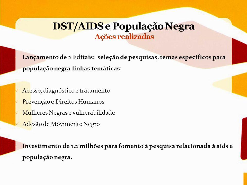Lançamento de 2 Editais: seleção de pesquisas, temas específicos para população negra linhas temáticas: Acesso, diagnóstico e tratamento Prevenção e D