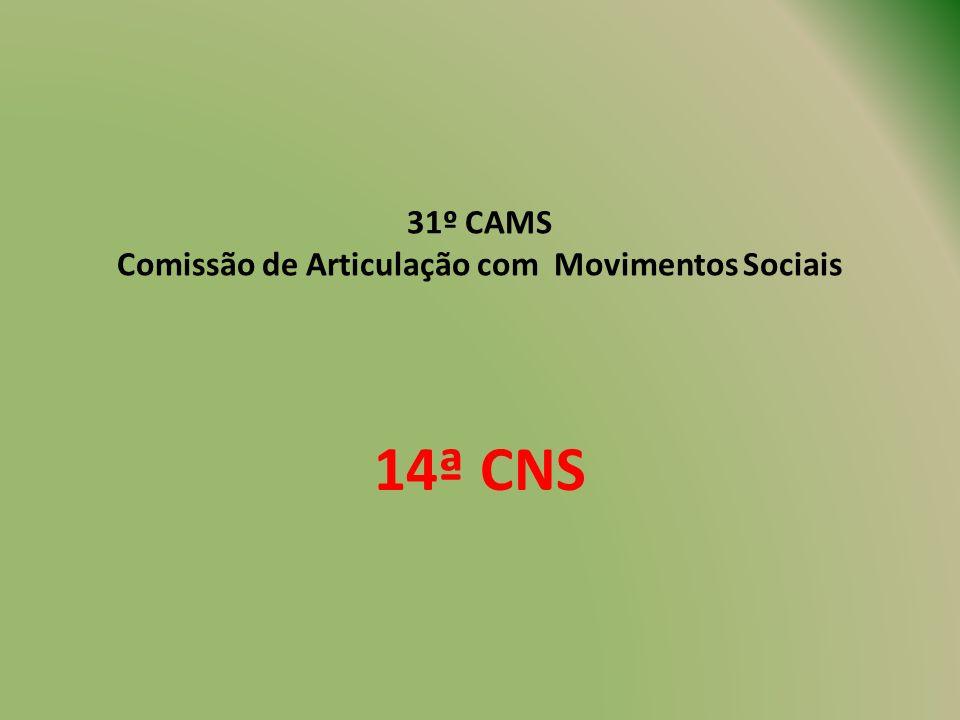 31º CAMS Comissão de Articulação com Movimentos Sociais 14ª CNS