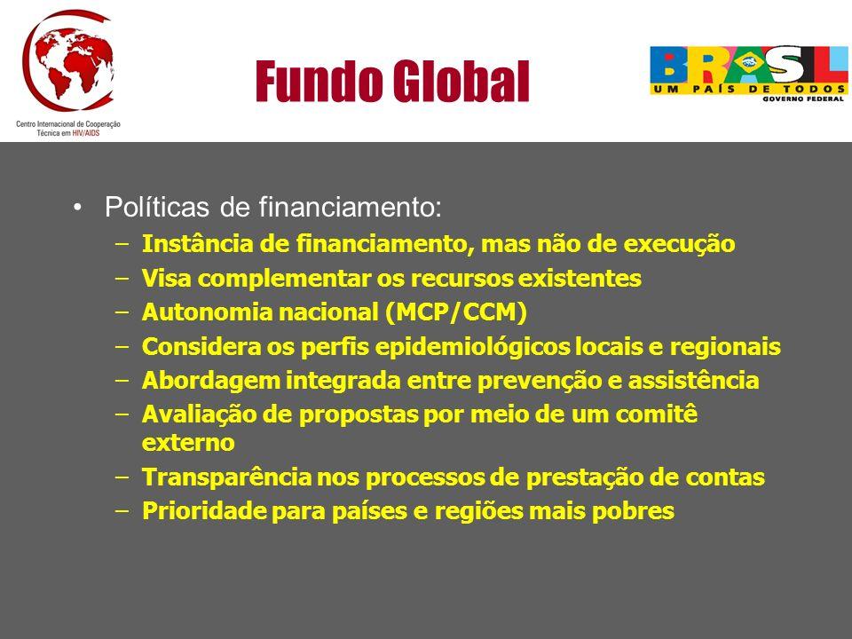 Fundo Global Políticas de financiamento: –Instância de financiamento, mas não de execução –Visa complementar os recursos existentes –Autonomia naciona