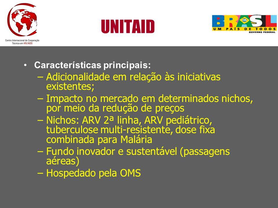 UNITAID Características principais: –Adicionalidade em relação às iniciativas existentes; –Impacto no mercado em determinados nichos, por meio da redu