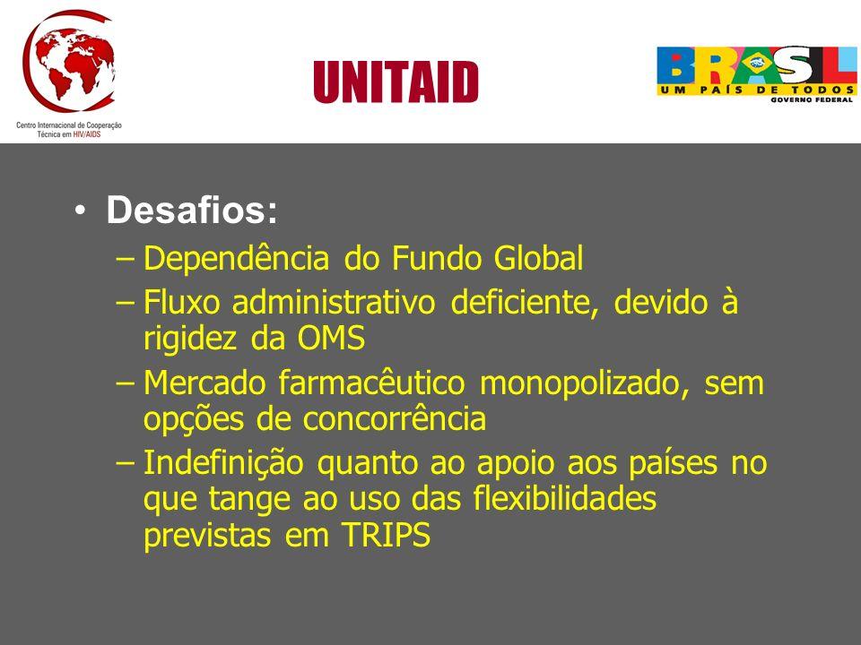 UNITAID Desafios: –Dependência do Fundo Global –Fluxo administrativo deficiente, devido à rigidez da OMS –Mercado farmacêutico monopolizado, sem opçõe