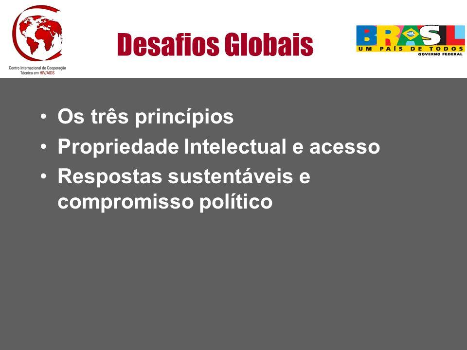 Desafios Globais Os três princípios Propriedade Intelectual e acesso Respostas sustentáveis e compromisso político