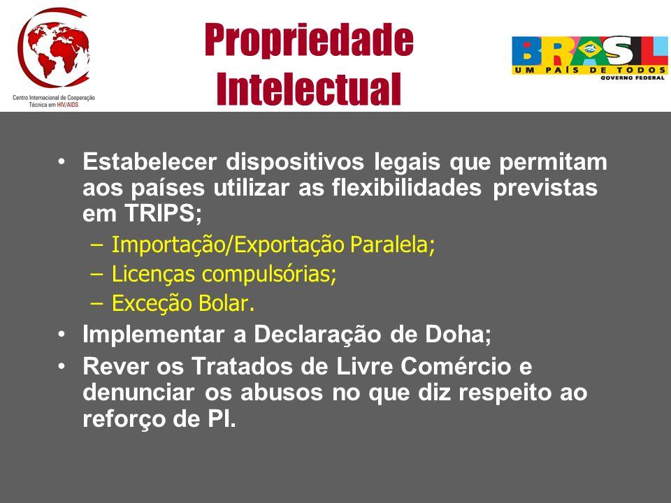 Propriedade Intelectual Estabelecer dispositivos legais que permitam aos países utilizar as flexibilidades previstas em TRIPS; –Importação/Exportação