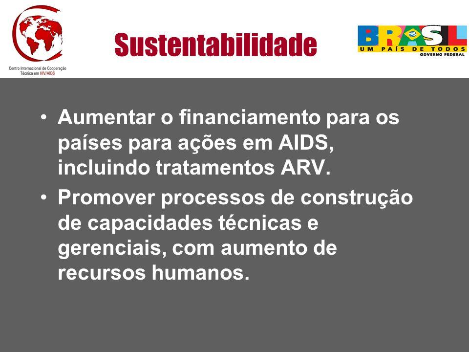 Sustentabilidade Aumentar o financiamento para os países para ações em AIDS, incluindo tratamentos ARV. Promover processos de construção de capacidade