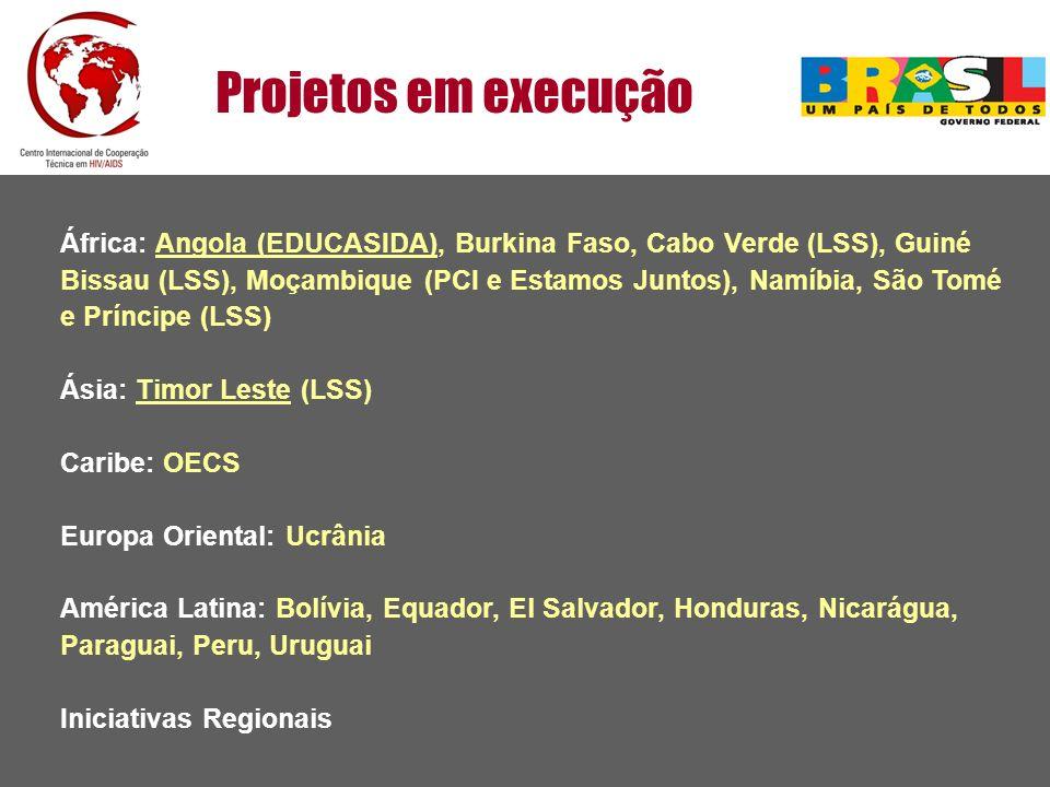 Projetos em execução África: Angola (EDUCASIDA), Burkina Faso, Cabo Verde (LSS), Guiné Bissau (LSS), Moçambique (PCI e Estamos Juntos), Namíbia, São T