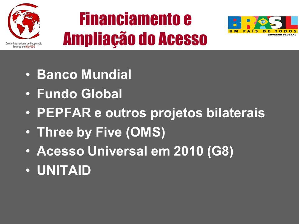 Financiamento e Ampliação do Acesso Banco Mundial Fundo Global PEPFAR e outros projetos bilaterais Three by Five (OMS) Acesso Universal em 2010 (G8) U