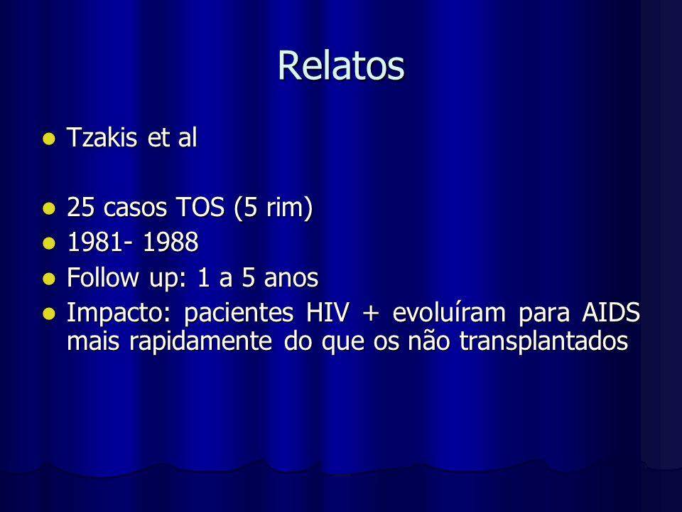 Relatos Tzakis et al Tzakis et al 25 casos TOS (5 rim) 25 casos TOS (5 rim) 1981- 1988 1981- 1988 Follow up: 1 a 5 anos Follow up: 1 a 5 anos Impacto:
