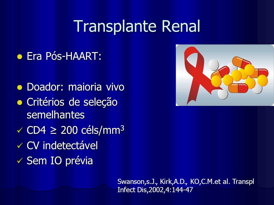 Transplante Renal Era Pós-HAART: Era Pós-HAART: Doador: maioria vivo Doador: maioria vivo Critérios de seleção semelhantes Critérios de seleção semelh