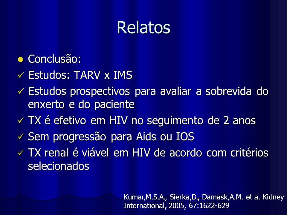 Relatos Conclusão: Conclusão: Estudos: TARV x IMS Estudos: TARV x IMS Estudos prospectivos para avaliar a sobrevida do enxerto e do paciente Estudos p