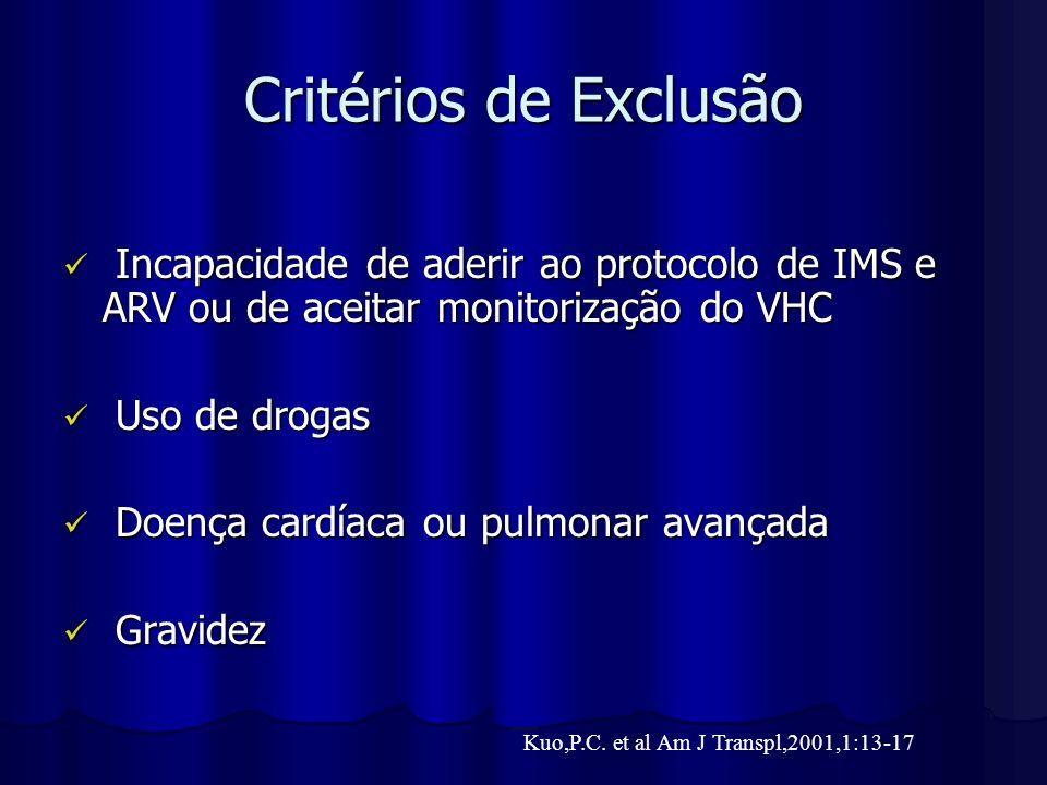 Critérios de Exclusão Incapacidade de aderir ao protocolo de IMS e ARV ou de aceitar monitorização do VHC Incapacidade de aderir ao protocolo de IMS e