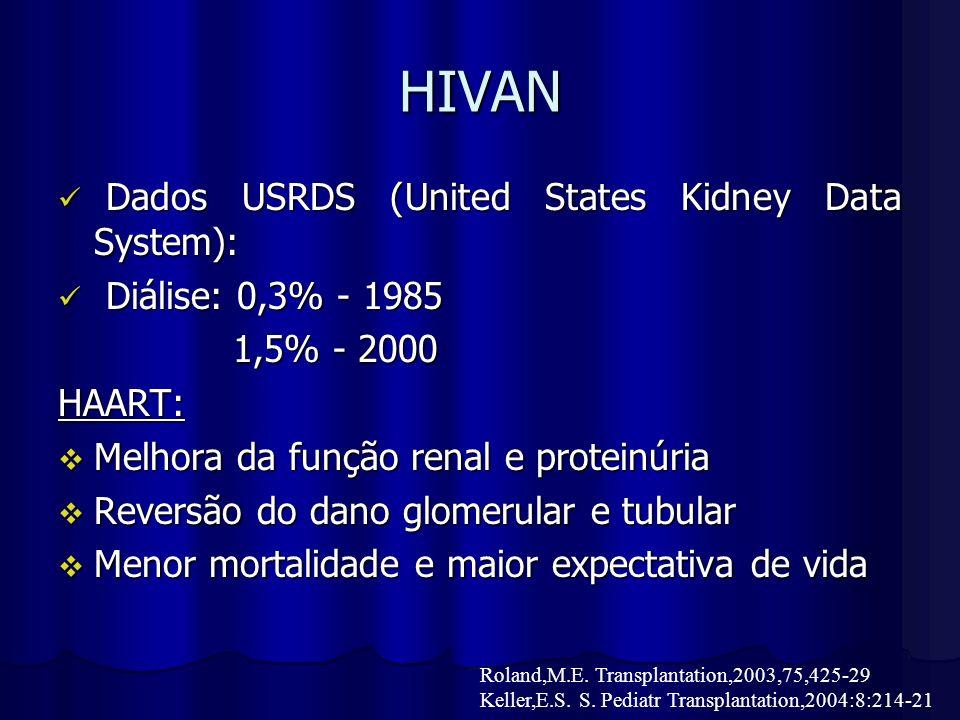 Diálise Prognóstico pobre em HIV + Prognóstico pobre em HIV + Hemodiálise: 1985 0,3% Hemodiálise: 1985 0,3% 1992 1,5% 1992 1,5% 2000 1,5% 2000 1,5% Ahuja et al: Ahuja et al: - sobrevida em 1 ano: 74% - mortalidade: 2,46 X 0,63 Keller,E.S.