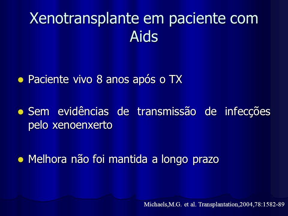 Xenotransplante em paciente com Aids Paciente vivo 8 anos após o TX Paciente vivo 8 anos após o TX Sem evidências de transmissão de infecções pelo xen