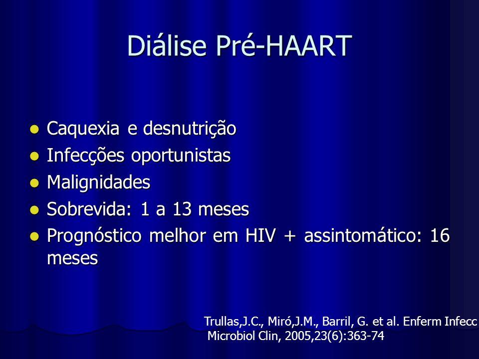 Diálise Pré-HAART Caquexia e desnutrição Caquexia e desnutrição Infecções oportunistas Infecções oportunistas Malignidades Malignidades Sobrevida: 1 a