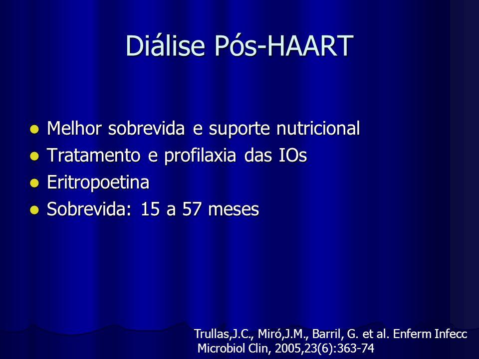 Diálise Pós-HAART Melhor sobrevida e suporte nutricional Melhor sobrevida e suporte nutricional Tratamento e profilaxia das IOs Tratamento e profilaxi