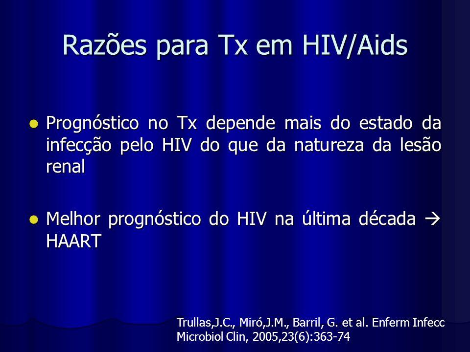 Razões para Tx em HIV/Aids Prognóstico no Tx depende mais do estado da infecção pelo HIV do que da natureza da lesão renal Prognóstico no Tx depende m