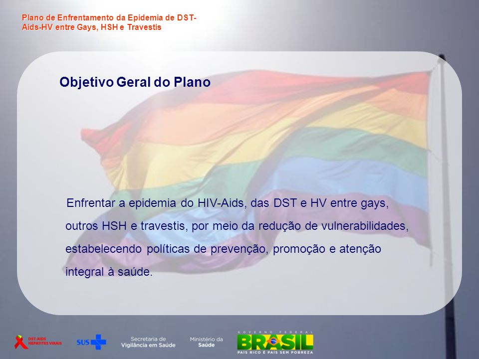 Objetivo Geral do Plano Enfrentar a epidemia do HIV-Aids, das DST e HV entre gays, outros HSH e travestis, por meio da redução de vulnerabilidades, es