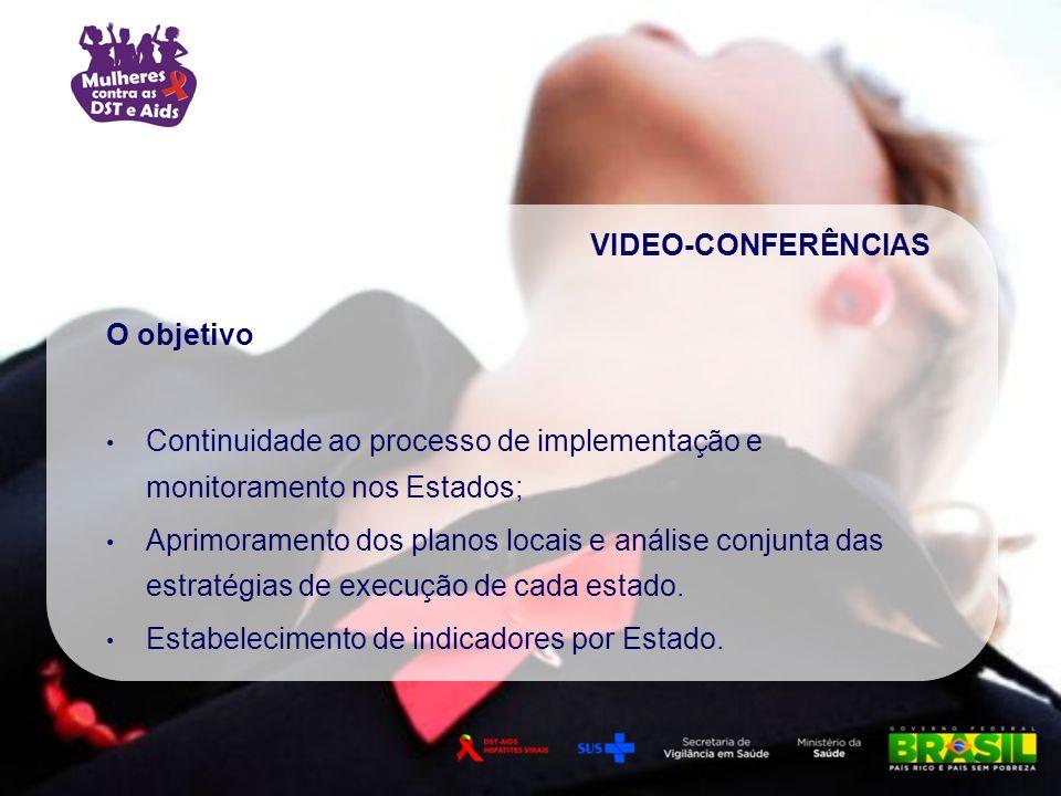 VIDEO-CONFERÊNCIAS O objetivo Continuidade ao processo de implementação e monitoramento nos Estados; Aprimoramento dos planos locais e análise conjunt