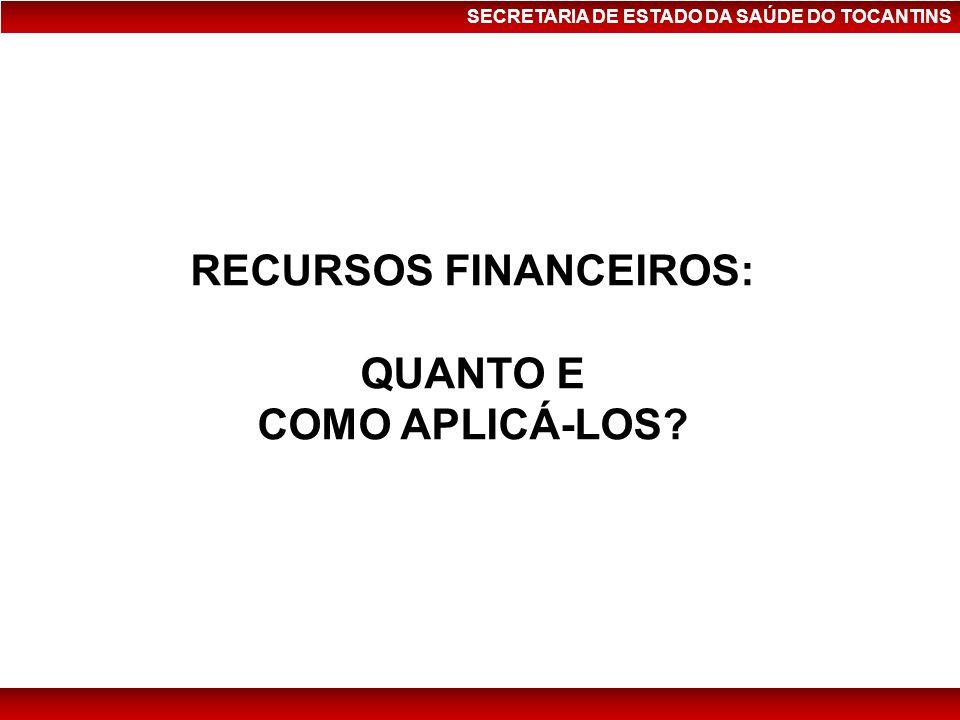 SECRETARIA DE ESTADO DA SAÚDE DO TOCANTINS RECURSOS FINANCEIROS: QUANTO E COMO APLICÁ-LOS?