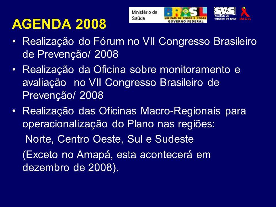 AGENDA 2008 Realização do Fórum no VII Congresso Brasileiro de Prevenção/ 2008 Realização da Oficina sobre monitoramento e avaliação no VII Congresso