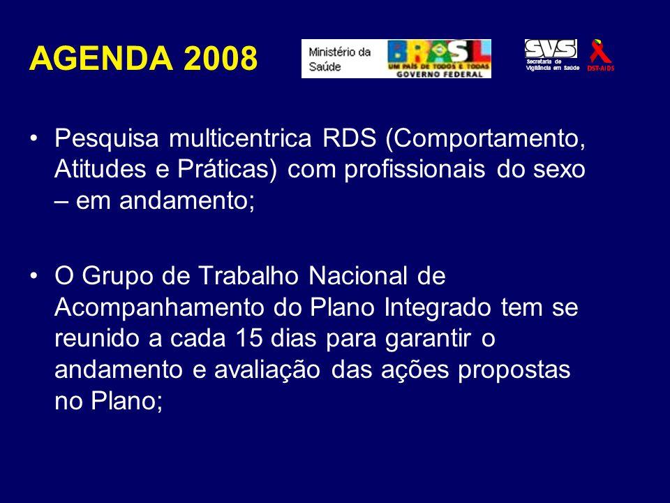 AGENDA 2008 Pesquisa multicentrica RDS (Comportamento, Atitudes e Práticas) com profissionais do sexo – em andamento; O Grupo de Trabalho Nacional de